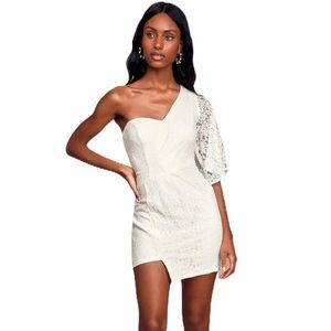 Lulus Be My Sweetheart White Lace Mini Dress XS